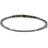 Silver Bracelet With Multi Colored Stones