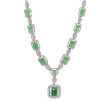 925 Sterling Silver Green Emerald Halo Statement Necklace