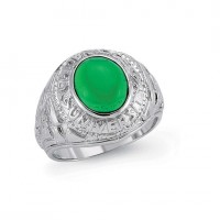 Silver Gents College Ring With a green Stone Centre